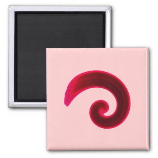 Red Swirl 2 Inch Square Magnet