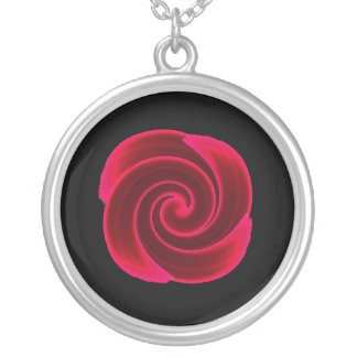 Red Swirl Blood Flower Silver Plated Necklace