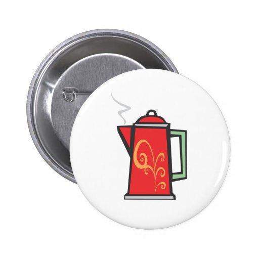 Red Swirl Coffee Pot 2 Inch Round Button