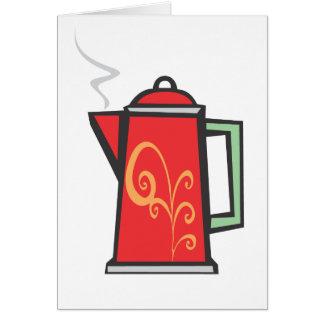 Red Swirl Coffee Pot Card