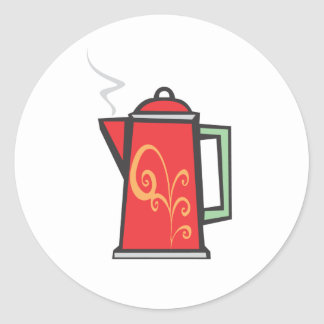 Red Swirl Coffee Pot Classic Round Sticker