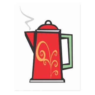 Red Swirl Coffee Pot Postcard