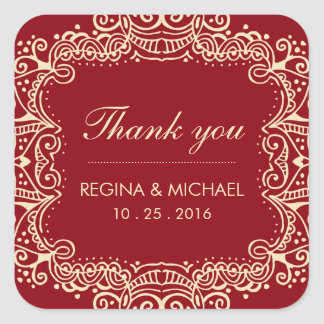 Red Swirl Curl Wedding Favor Thank You Sticker