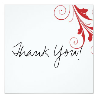 Red Swirl Flat Thank You Cards