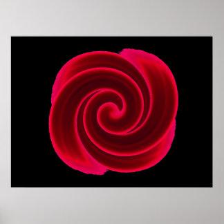 Red Swirl Flower Print
