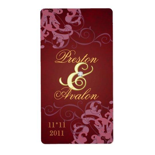 Red Swirl Gold Jeweled Wedding Wine Label