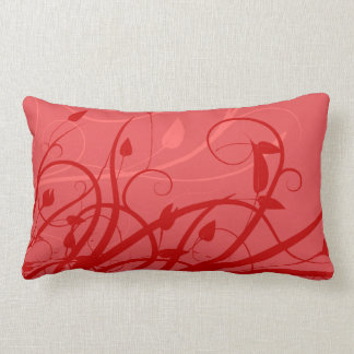 Red Swirl Leaf  Pattern Vector Throw Pillow