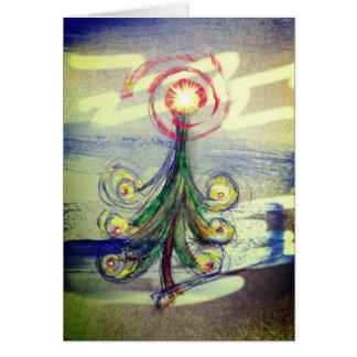 Red swirl Magical Christmas Tree greeting card