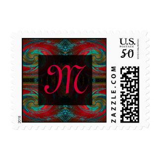 red swirl monogram postage