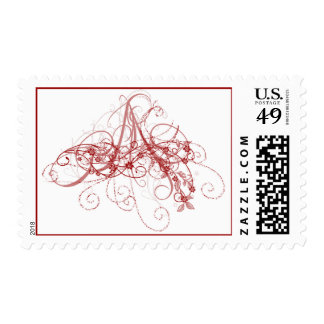 Red Swirl Postage