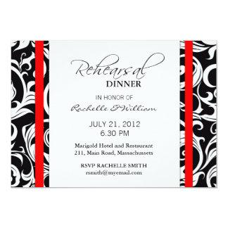 Red Swirl Rehearsal Dinner Card