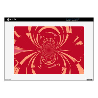 "RED SWIRL RETRO ART DECO DECALS FOR 15"" LAPTOPS"