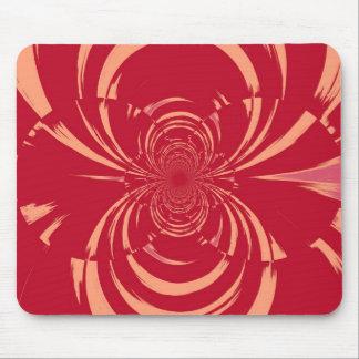 RED SWIRL RETRO ART DECO MOUSE PAD