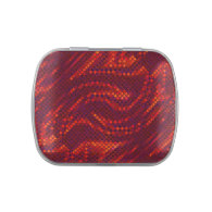 Red Swirl Sequin Effect Jelly Belly Candy Tin