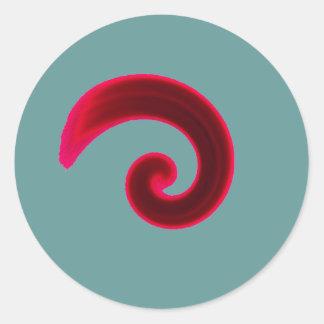Red Swirl Round Stickers