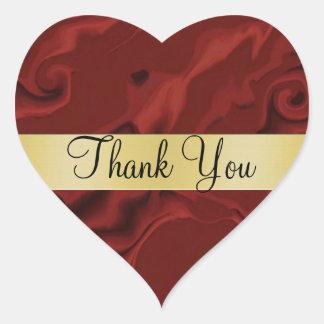 Red Swirl Thank You Heart Sticker
