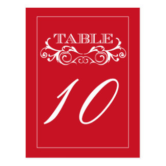 Red Swirl Vintage Wedding Table Number Cards