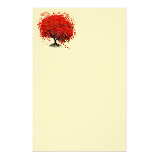 Red Swirled Heart Flower Tree on Yellow Stationery