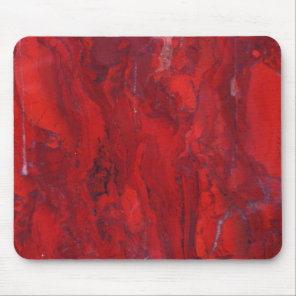 Red swirled marble slab mouse pad