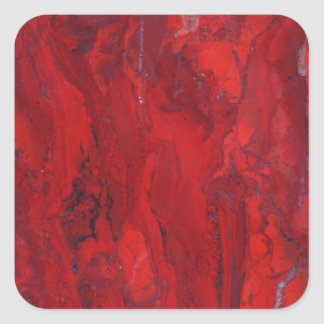 Red swirled marble slab square sticker