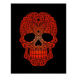 Red Swirling Sugar Skull on Black Posters