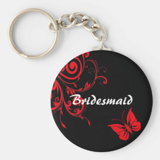 Red Swirls and Butterfly Key Chain
