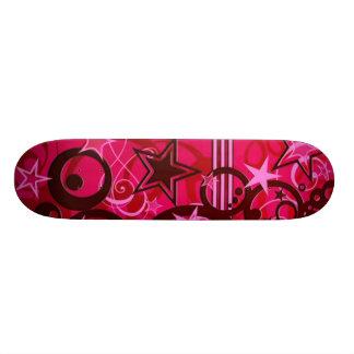 Red Swirls and Stars Skateboard