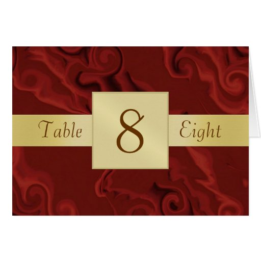 Red Swirls & Gold Table Number Folded Card