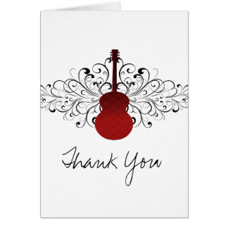Red Swirls Guitar Thank You Card