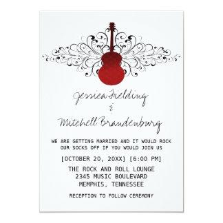 Red Swirls Guitar Wedding Invitation
