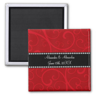 Red swirls wedding favors 2 inch square magnet