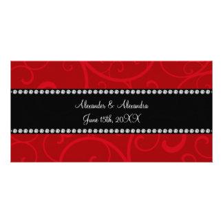 Red swirls wedding favors custom photo card