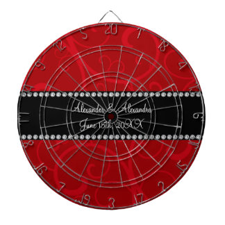 Red swirls wedding favors dart board