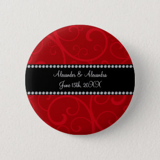 Red swirls wedding favors pinback button