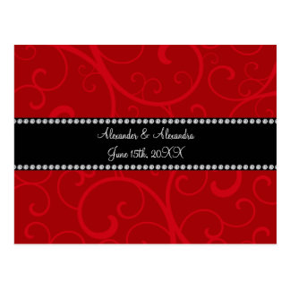 Red swirls wedding favors postcard