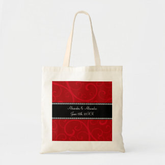 Red swirls wedding favors tote bag