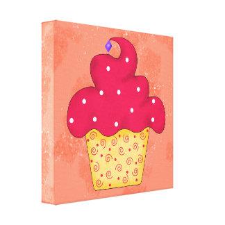 Red Swirly Cupcake Orange Original Art Canvas Print