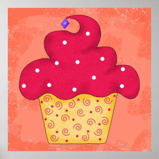 Red Swirly Cupcake Orange Original Art Poster