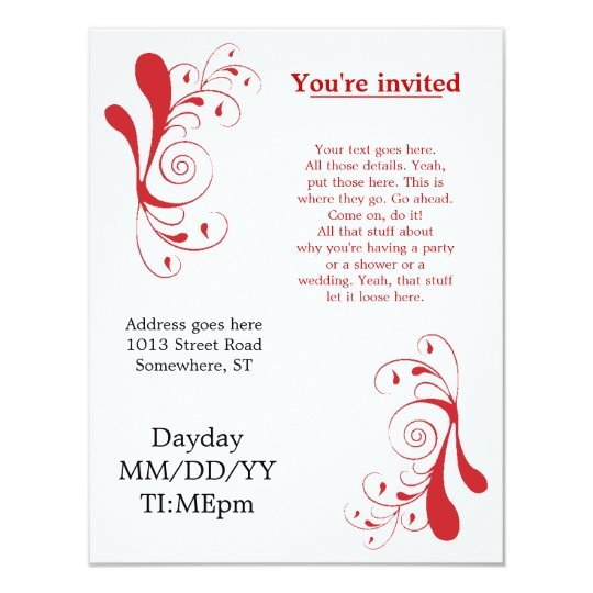 red swirly generic invitations for any occasion zazzle com