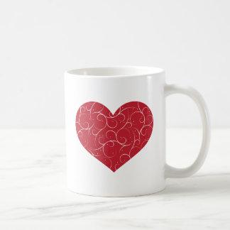 Red Swirly Heart Coffee Mug