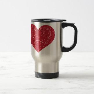 Red Swirly Heart Travel Mug