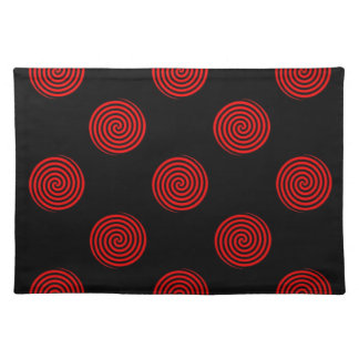 Red Swirly on Black Cloth Placemat