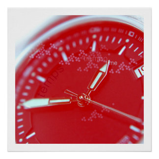 Red Swiss Watch Face Poster