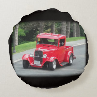 Red t bucket pickup roadster round pillow
