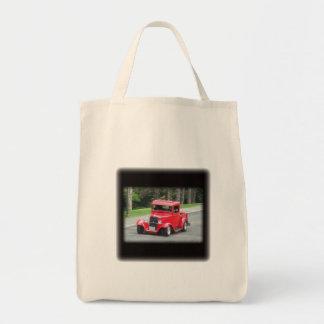 Red t bucket pickup roadster tote bag