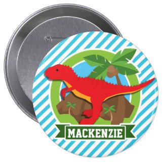Red T-Rex Dinosaur; Blue & White Stripes Button