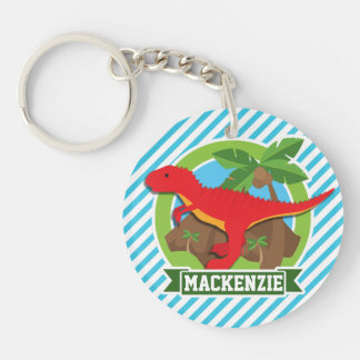 Red T-Rex Dinosaur; Blue & White Stripes Double-Sided Round Acrylic Keychain