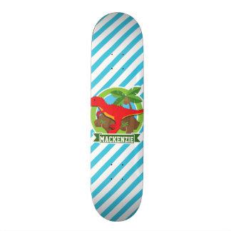 Red T-Rex Dinosaur; Blue & White Stripes Skateboard Deck