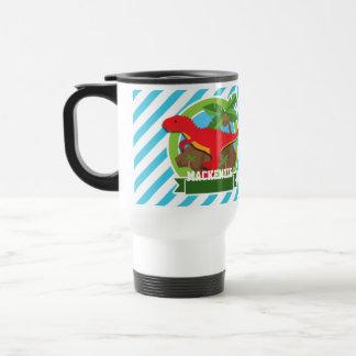 Red T-Rex Dinosaur; Blue & White Stripes Travel Mug