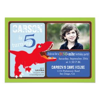 Red T-Rex Dinosaur Fifth Birthday Invitation Card